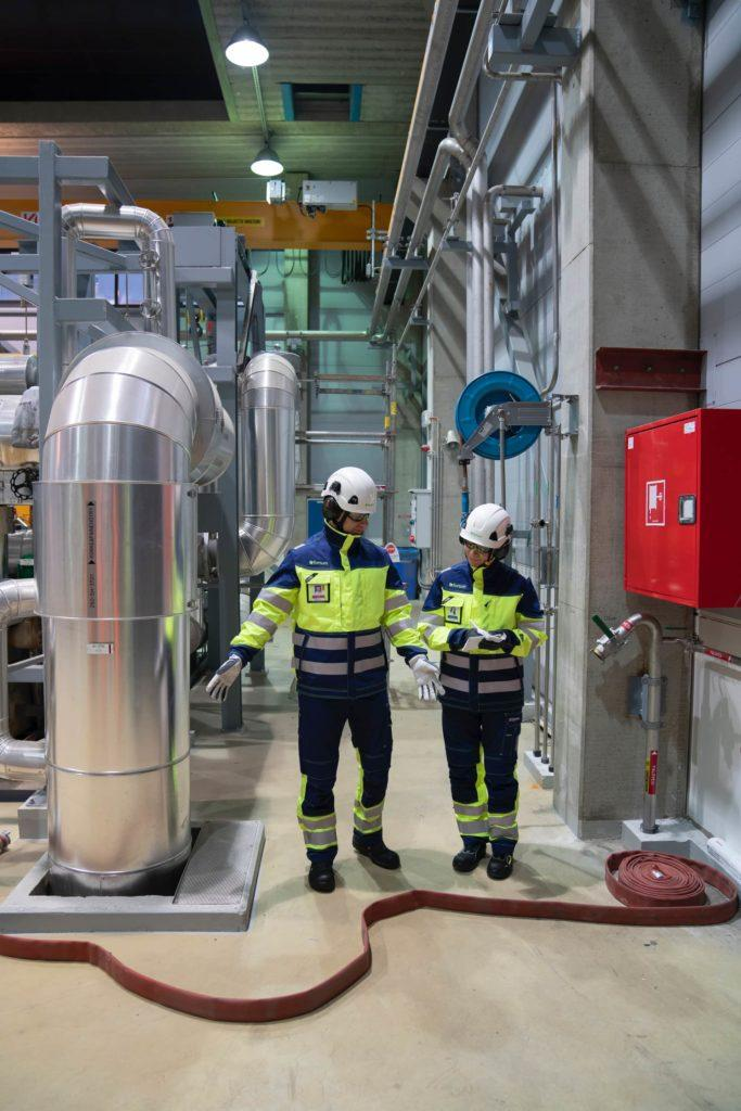 Fortum plant personnel performing a safety related inspection