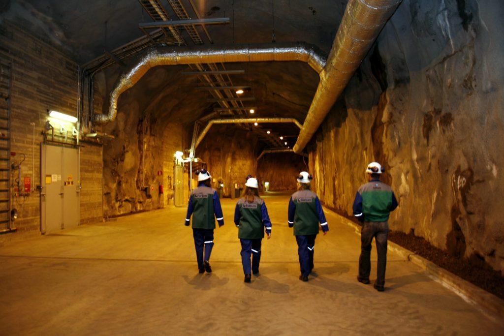 Fortum Loviisa personnel walking inside a tunnel