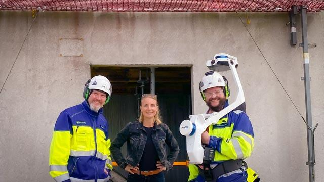 eSite and Fortum personnel with NavVis VLX equipment at a site